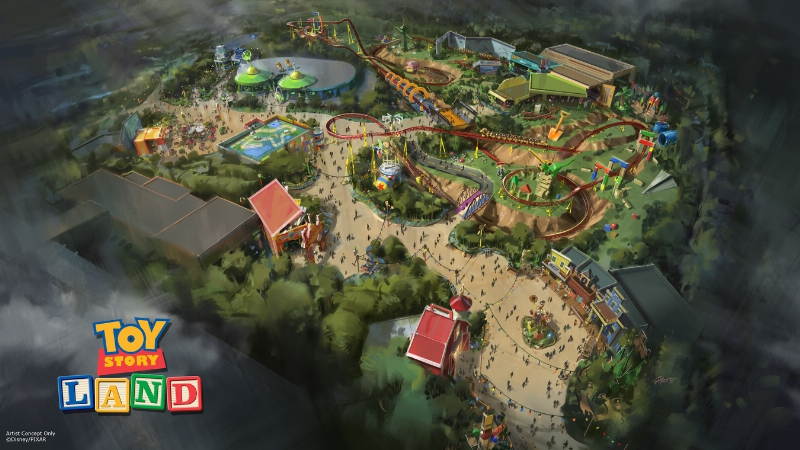 The reimagining of Disney's Hollywood Studios will take guests to infinity and beyond, allowing them to step into the worlds of their favorite films, starting with Toy Story Land. This new 11-acre land will transport guests into Andy's backyard. Guests will think they've been shrunk to the size of Woody and Buzz as they are surrounded by oversized toys that Andy has assembled. Using toys like building blocks, plastic buckets, and game board pieces, Andy has designed the perfect setting for this land, which will include two new attractions for any Disney park and one expanded favorite. (Disney Parks) (PRNewsFoto/The Walt Disney Company)